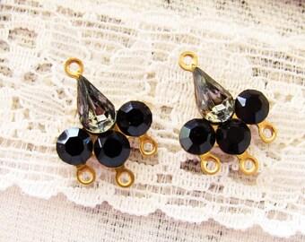 Swarovski Black Diamond & Jet Black Rhinestone Chandelier Earring Connector Findings Fleur de Lis - 2