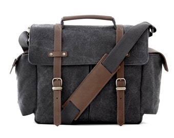 PRE ORDER - Camera Bag / Messenger Bag / Shoulder Bag / Gray Canvas / TRAIL