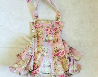 Tea party,Vintage, Floral Boutique Style Romper size 3, 6, 9, 12, 24 months, 2T, 3T, 4T