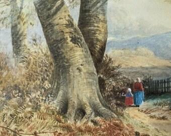 Victorian / Edwardian watercolour landscape, Rural forest, Mountain landscape, Victorian figures, Woodland painting