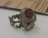 Steampunk Watch Ring Silver Adjustable Ring Steampunk Ring