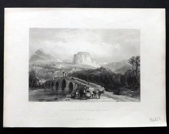Italy 1846 Antique Print. The Castle of Cassano, Calabria