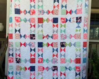 Lap, throw, couch, small twin, patchwork quilt blanket pink green blue butterflies