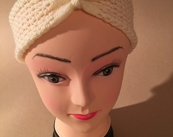 Vintage 1950s inspired adult cream headband / ear warmer - gathered front - lace pattern
