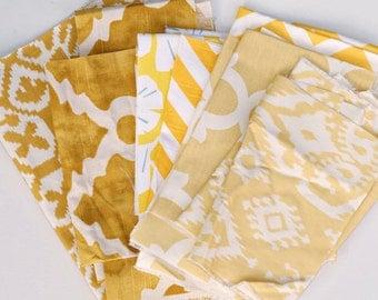 Yellow White Fabric Scraps Bundle,Raji, Fynn, Zig Zag, Gingko, Seville, Madrid, Golden Rod, Saffron, Home Decor Premier Prints REMNANT CUTS