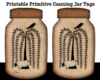 Printable Primitive Willow Tree Canning Jar Tags - PDF - Crow - Prim Sheep - Transparent PNG Included for resizing