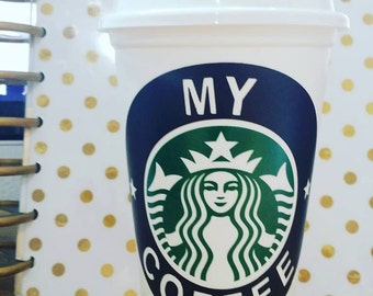 1 Vinyl Decals and Coffee Cup, Personalized, Reusable, 16 Ounce, Choose your Vinyl Colors Style #1 black