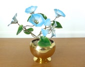Vintage Bovano enamel flower sculpture, enameled morning glories