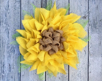 Yellow Sunflower Wreath, Burlap Sunflower Door Wreath, Spring Wreath, Summer Wreath, 20""