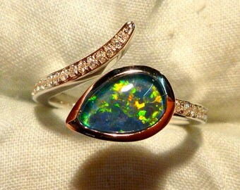 Opal Ring Ladies Sterling Silver 925 & CZ, 9x6mm Teardrop Triplet. item 100914.