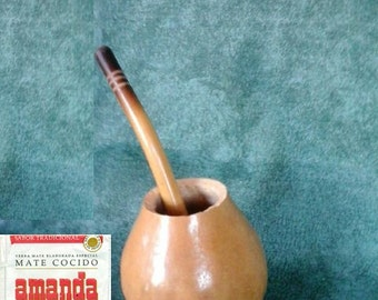 1 Gourd 1 Bombilla Straw Yerba Mate 1 Tea Bag Infusion Argentino Gaucho Uruguay Brazil Paraguay Chile Tango