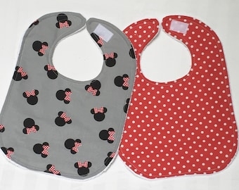 Baby Bibs Girl Boy Set of Two Gender Neutral Drool Bib Infant Bib Baby Shower Gift Toddler Baby Gear Disney Minnie Mouse Red Dot Absorbent
