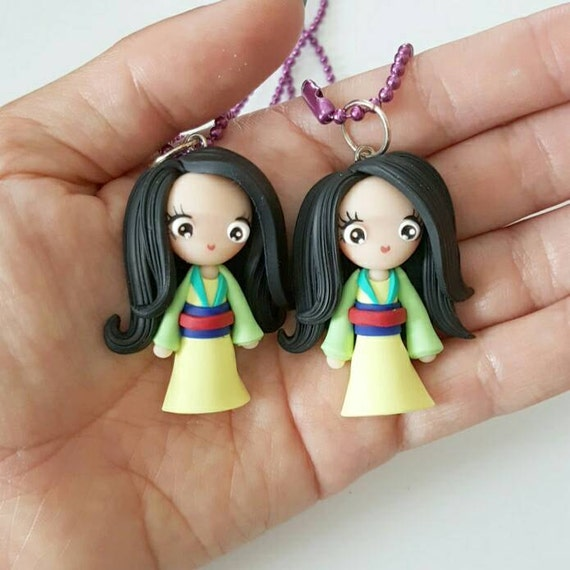 LIMITED EDITION Mulan Necklace, Princess, Polymer Clay Pendant, Necklace, polymer clay, clay pendant, Kawaii, doll, charm, Christmas