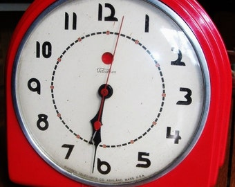 Red Telechron Electric Wall Clock Vintage Home Decor Mid Century