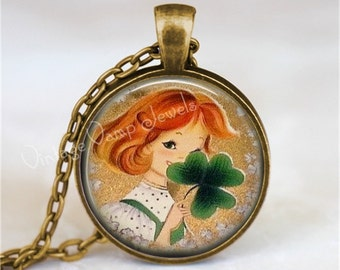 St. Patricks Day Pendant Necklace, Irish Girl, Necklace, Irish Necklace, St Patricks Day Jewelry, Irish, Shamrock, Four Leaf Clover, Lucky