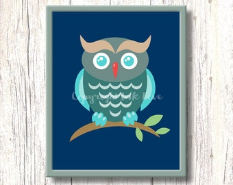 Night Owl printable nursery art decor. Kids room wall art. Bird image for children. Instant digital download. 8x10 inch cute character.