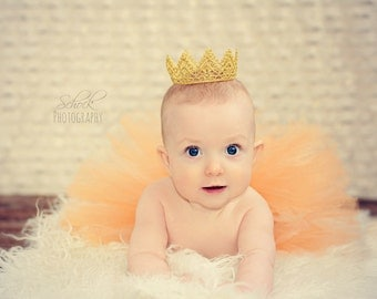Baby Gold Crown, Baby Crown, Regal, Golden Lace Crown, Baby Photo Prop, Newborn Gold Crown, Baby Girl or Boy Crown Gold Vintage