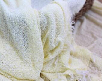 Baby Knit Wrap, Yellow Baby Wrap, Newborn Stretch Knit Wrap, Newborn Photo Prop Lemon Wrap
