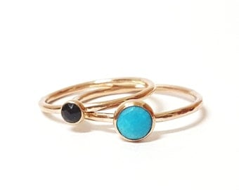 3mm Gemstone Stacking Ring - Choose your Stone - Turquoise - Moonstone - Pyrite - Onyx - 14/20 Gold Fill - Minimal
