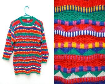 80s Wacky Striped Multicolor Sweater Adorable Women's Small Super Soft Long