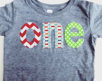 one lowercase with chevron, pez and green circles for boys 1st Birthday Shirt