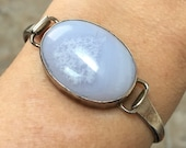 Silver Agate Cuff Bracelet Bangle Vintage Sterling Cuff Bracelet for Small to Medium Ladies' Wrists