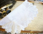 Vintage Wedding Hankerchief /White Wedding Hankie With Ruffle Edge /White Hankie/ Something Old /Tea Party/Home Decor