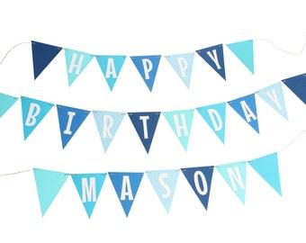 Blue Birthday Pennant Banner - Shades of Blue Birthday Banner - Aqua Blue - Navy Blue - Royal Blue - Pastel Blue - Boy Birthday Smash Cake