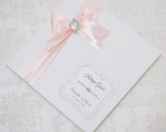 Wedding Guest Book - Personalized - light pink