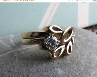 DEADsy LAST GASP SALE foliage: Vintage Diamond Engagement Ring //Solitaire Diamond Handcrafted Woodland Wedding Set
