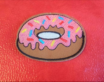 Donut Embroidered Patch. Doughnut. Sew On. Iron On. Food. Kawaii. Hipster. Applique. Upcycle. DIY.