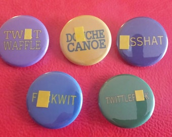 Set of 5 Swear Word Pinback Buttons. Insult. Rude. Sweary. Badges. Flair. Expletives. Gift for Him or Her. Pins. Badges.