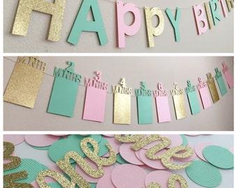 Pink & Gold Birthday Decorations, First Birthday Party Decorations, Pink and Gold First Birthday Banner, First Birthday Photo Banner