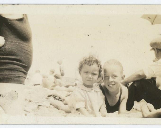 Vintage Snapshot Photo: At the Beach, c1920s-30s  (69505)