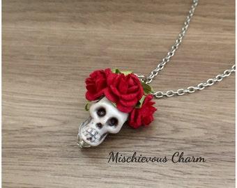 Dia de Los Muertos Day of the Dead Sugar Skull Pendant Necklace