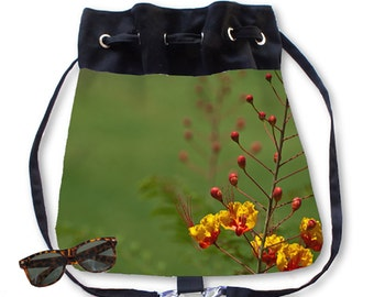 BOHO Backpack Purse Mexican Bird of Paradise Flower