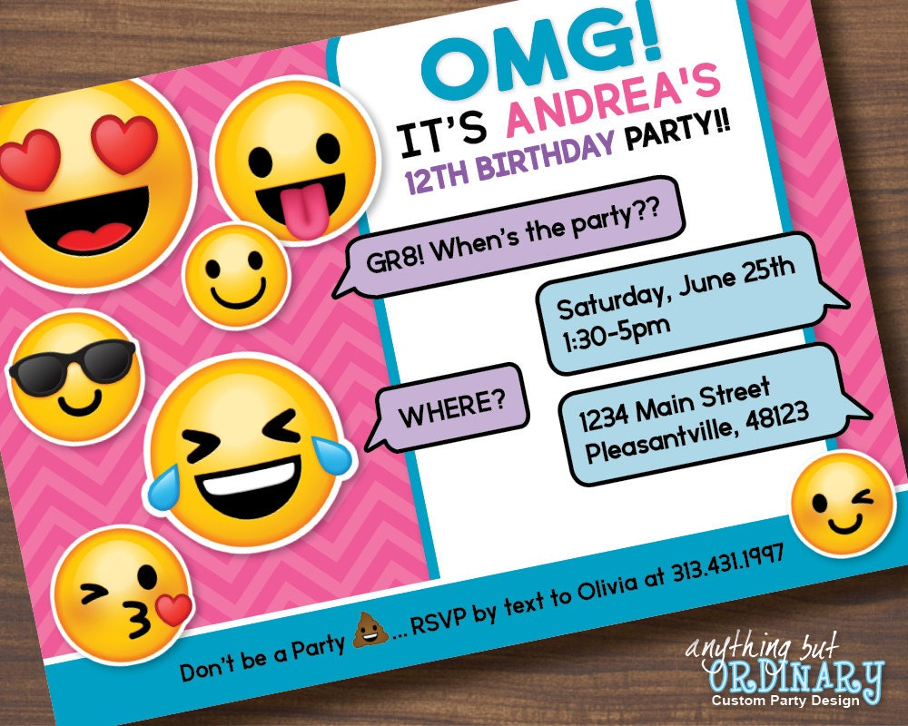 Printable Emoji Birthday Party Invite Girls Emoji – Custom Party Invitation