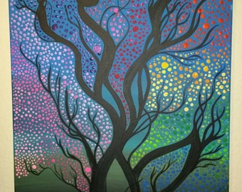 Colorful whimsical abstract tree 16x20 acrylic