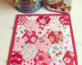 sweet red and pink hexie trivet