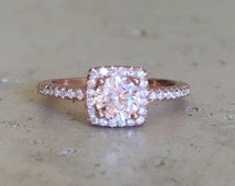 Small Rose Gold Promise Ring- Rose Gold Ring- Cubic Zirconia Ring- Square Shaped Ring- Dainty Halo Gemstone Ring- Anniversary Ring