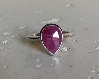 Ruby Promise Stackable Ring- Sterling Silver Small Ruby Ring- July Birthstone Ring- Bezel Pear Shape Ring- Anniversary Red Gemstone Ring