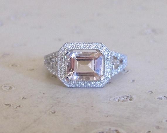 Rectangle Silver Morganite Ring Engagement Ring Bridal Ring