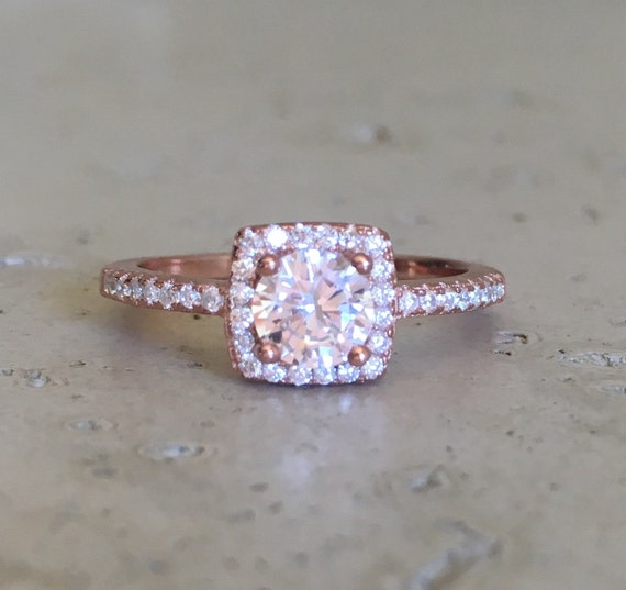 rose gold promise ring rose gold engagement ring halo cubic