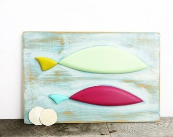 Folk Art Fish - Rustic Handmade Folky - Wall Decor - Cottage Beachy