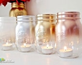 Christmas Decorations Holiday Decor Metallic Mason Jar Candle Holders Lanterns Home Decor Mantle Decor