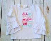 Love and Cupcakes ruffle shirt- girl's valentine's-M2M Sew Sassy cyan- m2m sew sassg cupids