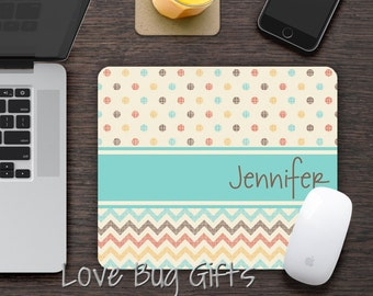 Personalized Mousepad * Shabby * Chevron * Polka Dots * Name * Desk accessory * Mouse Pad