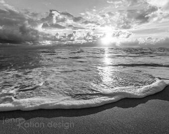 Black and White Beach Photography, Sunrise Beach Photo, Waves Photography, B&W Beach Photo, Cottage Decor, Beach House print, sunrise photo