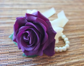Wrist Corsage, Purple Rose with Ivoryribbon on pearl bracelet