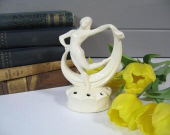 Vintage Ceramic Flower Frog Art Deco Scarf Dancer, Dancing Figurine,